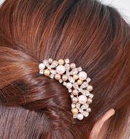 New Arrival Fashion Korean Hair Ornaments Full Pearl Wedding Daisy Flower Hairpin Hair Accessories SF213