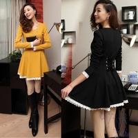 High Quality Women Fashion Pleated Dress Long Sleeve Tie Back Lace Trim Hem Winter Dress Plus Size Yellow Black Bow Dresses