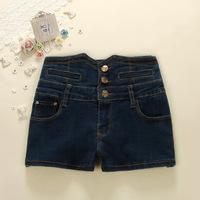 New arrival 2014 summer fashion Korean women slim blue button denim shorts women casual shorts G57