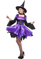 Naughty Girls Witch Fancy Dresses Adult Sexy Ladies Purple/Black Long Flare Sleeves Halloween Fantasy Outfit Costumes Brand New