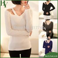 E004 Fashion Women Clothes 2014 V Neck Slim Womens Long Sleeve Tops
