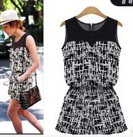 2014 High Street Casual Ladies Jumpsuit Print Patchwork Half Transparent Slim Trendy Ladies Macacao Plus Size Europe Bodysuit