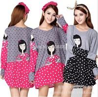 2014 new autumn winter long-sleeve big plus size women dress casual blouse shirt cartoon print cute woman tunic top 3XL~4XL~5XL
