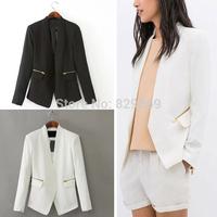 Trendy 2014 Autumn Women Fashion Solid Color Long Sleeve Gold Zipper Deco Pockets No Button Slim fit Blazer Suit OL Jacket