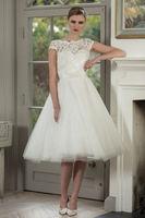 Lace Short Wedding Dresses Gowns Short Sleeve Knee Length Custom Made