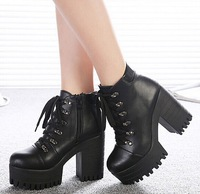 platform shoes woman winter autumn punk booties chunky high heels ladies rivets motorcycle pumps women ankle boots GX140089