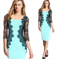 New Fashion 2014 Elegant Celebrity O-neck Full Sleeve Knee-length Lace Casual Bodycon Women Dresses