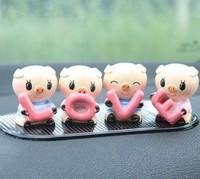 car accessories car cute LOVE pig ornaments automotive supplies Q version resin (6pcs and Non-slip mat) free shipping