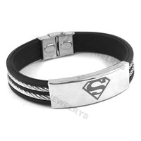Free shipping! Classic Superman Bracelet Stainless Steel Jewelry Black Rubber Motor Biker Bracelet SJB0222