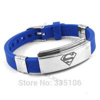 Free shipping! Classic Superman Bracelet Stainless Steel Jewelry Blue Rubber Motor Biker Bracelet SJB0217