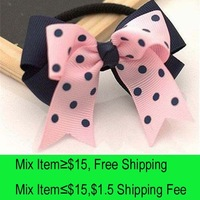 10pcs/lot HA0017 pink bowknot navy blue bottom ribbon hair jewelry elastic clips hairpins for girls