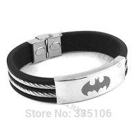 Free shipping! Classic Batman Bracelet Stainless Steel Jewelry Black Rubber Motor Biker Bracelet SJB0223