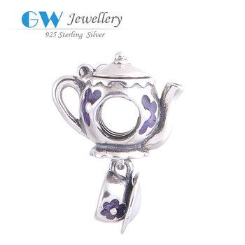 2014 Модный 925 Sterling Silver Tea Kettle Charm Fits Bracelets Bangles Pendant GW ...