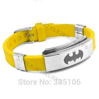 Free shipping! Classic Batman Bracelet Stainless Steel Jewelry Yellow Rubber Motor Biker Bracelet SJB0219