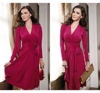 2013 new European fashion solid color V-neck bandage dress 8046
