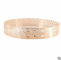 New Arrival Woman Grid Belts With Metal Buckle Gold Silver Hollow Out Female Belts Width 4cm High Fashion Gold Belts For Women