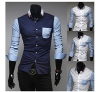 2014 Autumn And Winter Clothes Knit Collar Personality Spell Color Design Men's Slim Stylish Long-Sleeved Shirt CS913