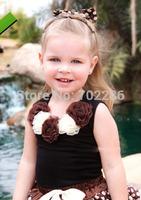 Boutique Baby girls petti tops sleeveless black cotton thsirt with chiffon flowers