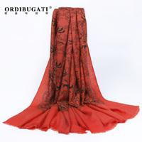 Ordibugati women's cashmere scarf thermal print fashion cape