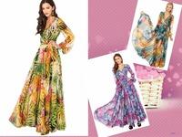New Arrival! Fashion long sleeve v-neck chiffon printed long Dress, girls maxi dress, Size XS-XXL, 141516093