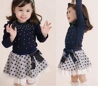 New Arrival Fall Children's Clothing 2pcs Suit  Pure Cotton Peral T Shirt + Wave Point Skirt Girl Sets Kids Skirt Set  QZ399