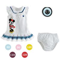 Summer Kids Baby Girl Suit Set Minnie Sailor Dress + Diaper Cover 2 Piece Clothes Set Outfits