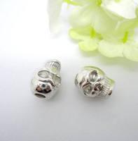 80PCS Silver Tone Zinc Alloy Skull Big Hole Beads Fit European making Bracelet jewelry findings
