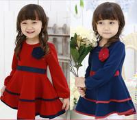 Free shipping 2015 autumn girls dress girls rose petal hem dress red blue cute  baby princess dress children dress