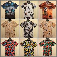Free Shipping New Harajuku print 3D T-shirt LeopardCat/Dog/full dog head/Husky Doge T shirt short sleeve cotton men tshirts