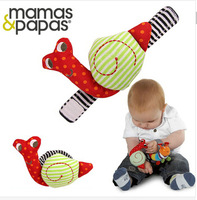 Free shipping Mamas & papas snail baby rattle wrist baby mobile baby toys 0-24 months infant gifts educational toy 2pcs/lot
