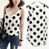 2014 New Arrival Women Tank Top Sleeveless Polka Dots Vest  Chiffon Blouse Primer Shirt