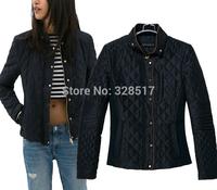 2014 Winter new brand design British fashion women Lingge quilting stitching Slim cotton coat woman casual warm padded jacket