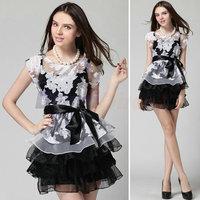 2015 New Women party Dresses Summer sexy mini flower print dress elegant nightclub dress with sashes