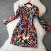 2014 New Desigual Long Sleeve Brand Woman Dress Vintage Noble Print Flower Dress Jacquard Elegant Runway Celebrity Dresses