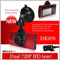 "Best Quality DK870 Car DVR Camcorder Dual lens 2.5"" TFT GPS Full HD 1280*720P 140degree ultra wide angle lens video registrator"