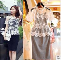 New 2014 summer women flower embroidery crochet lace dress short two-piece casual plus size Slim woman clothes vestido de festa