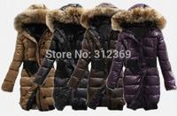 Ladies Coat Down Parka Warm Winter Jacket Women Long Design With Belt Fur Collar Purple Brown Black Brand Lady Down Jacket Coat