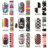 Adhesive Nail Stickers Cartoon Flowers Nail Tips Wraps,DIY Nail Beauty Supplies,Nail Patch Art Decoration Tool(k1010-k1018)