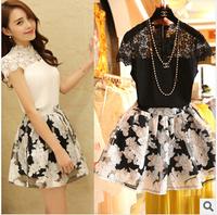New 2014 summer two-piece set chiffon dress lace women blank Print Flowers Short-sleeved plus size Crochet woman clothes vestido