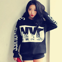 Print Black Sweatshirt Long Sleeve Thicken Loose Blouse Warm Womens Tops Free&Drop Shipping