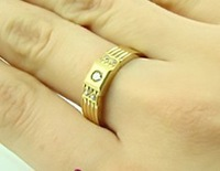 pure 14k yellow gold ring  pair couples ring with small cristal  birthday engagement gift free shipping