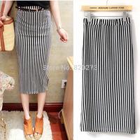 Free shipping 2014 women's placketing black and white vertical stripe slim hip skirt half-length midguts hot sale European style