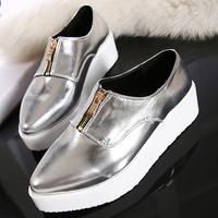Free shipping new  fashion super beautiful  Pointed metallic women's platform shoes casual shoes
