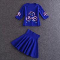 Free shipping 2014 women's fashion beading blouse blue black woolen half-sleeve skirt suit wholesale