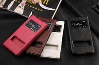 Z2 Case,  Luxury High Quality Leather Flip Stand Cover Case Double View Window Smart Case For Sony Xperia Z2