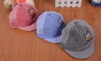 free shipping 2014The bear children summer hat  Baseball Cap Hat Cotton Baby Boy Child cap wholesale