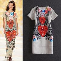 Free shipping design o-neck print short-sleeve women casual dress evening party dress