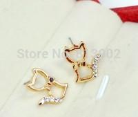 3pcs/lot Fashion Set auger hollow-out bowknot cute little cat cat stud earrings