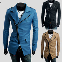 Free Shipping 2014 New Style Autumn Winter Three Pocket Inclined Zipper Long Casual Windproof Waterproof Men Trench Coat