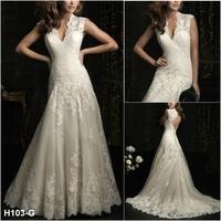 Deep V Neck Wedding Dresses Bridal Dress Cap Sleeve Full Lace A-Line Button Custom Made US Size 2 4 6 8 10 12+ H103